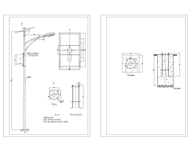 太阳能路灯灯杆及基础大样施工图纸