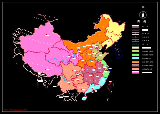 中国地图行政区划图CAD版
